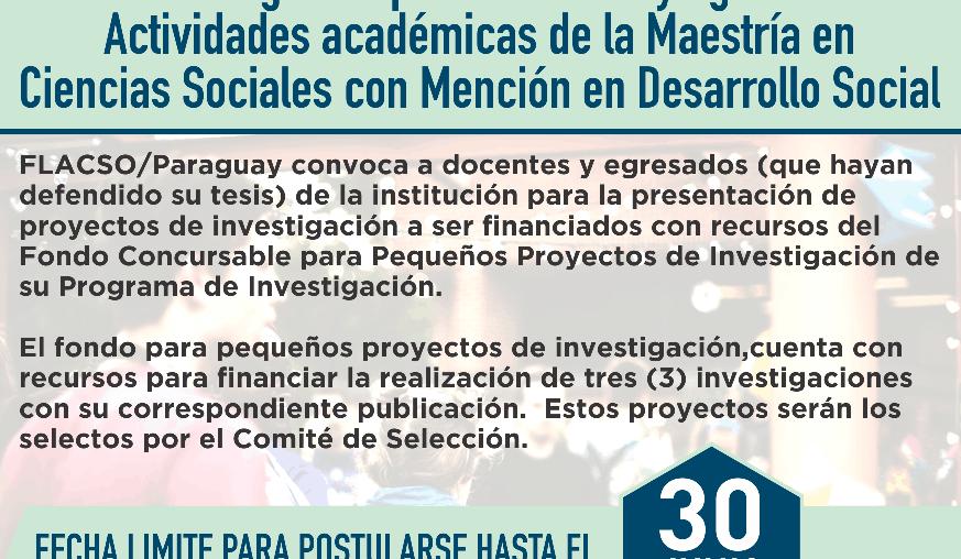 FONDO CONCURSABLE PARA PEQUEÑOS PROYECTOS DE INVESTIGACIÓN