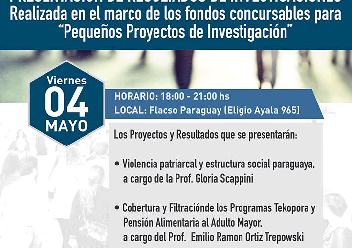 PRESENTACION DE RESULTADOS DE INVESTIGACIONES